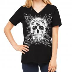 Craft Beer Sugar Skull Womens V-Neck T-Shirt