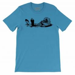 Beer Drinking Otter Mens Unisex Graphic Tee