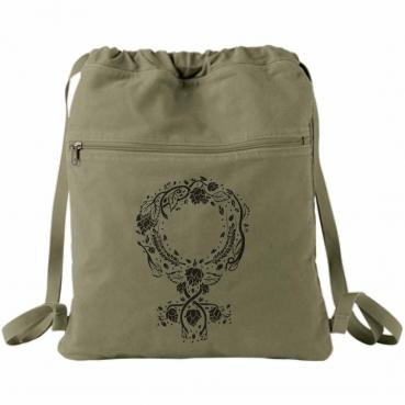 Botanical Venus Symbol Canvas Backpack