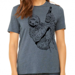 Beer Drinking Sloth Womens Missy Triblend Graphic Tee