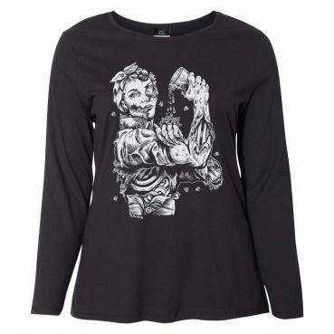 Zombie Riveter Girl Graphic Long Sleeve Womens Curvy Tee