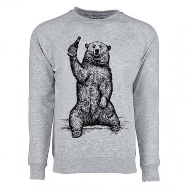 Beer Drinking Grizzly Bear French Terry Raglan Long Sleeve Tee