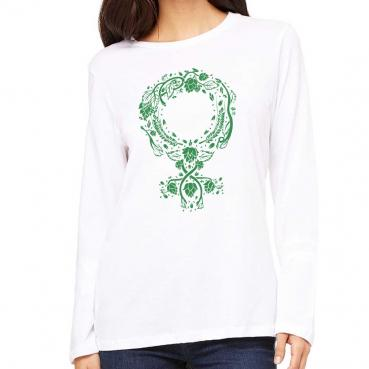 Botanical Venus Symbol - Womens Relaxed Fit Long Sleeve Tee