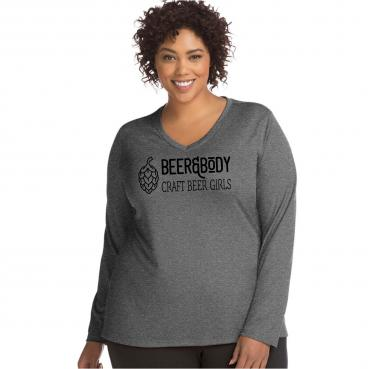Beer & Body Long Sleeve Womens Curvy Moisture Wicking V-Neck Tee
