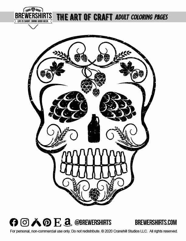 Free Coloring Page - Craft Beer Sugar Skull By BrewerShirts