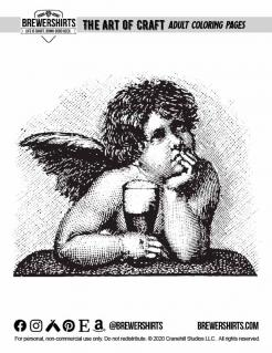 Beer Drinking cherub - free coloring page from BrewerShirts