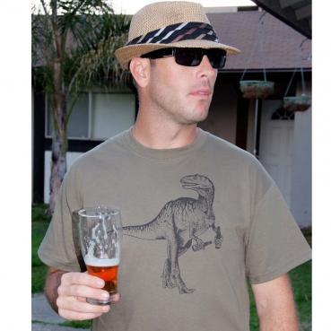 Beer Drinking Dinosaur Graphic Tee