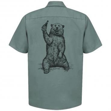 Beer Drinking Grizzly Bear - Brewer Work Shirt