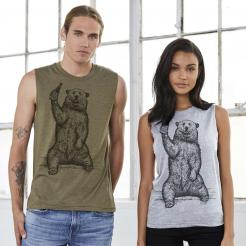 Beer Drinking Grizzly Bear Unisex Muscle Tank