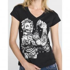 Rozie Riveter Zombie Girl Womens V-Neck