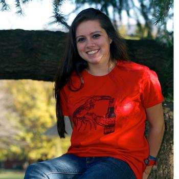 Beer Drinking Lobster Red Womens T-Shirt