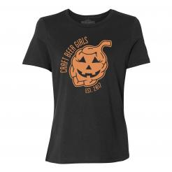 Craft Beer Girl Jack-O-Lantern - Womens Relaxed Fit Tee