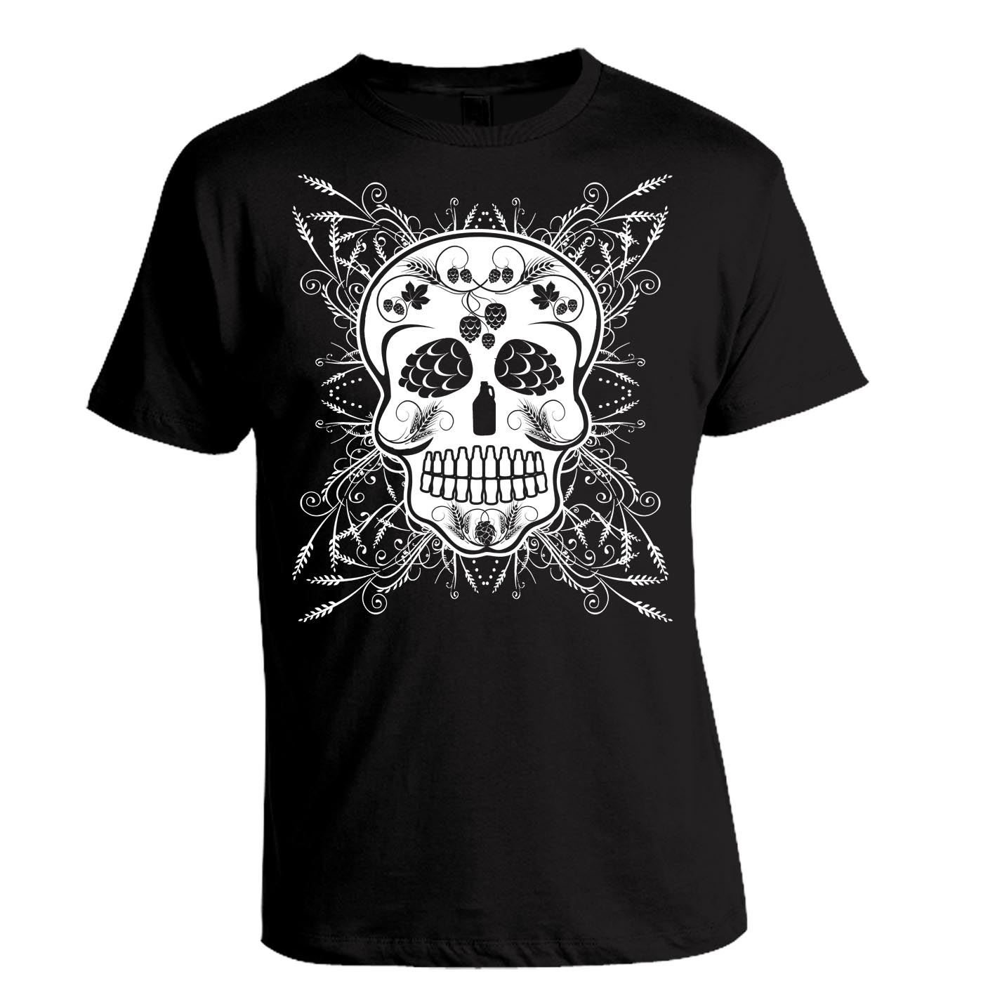 Craft beer sugar skull t shirt for Craft brewery t shirts