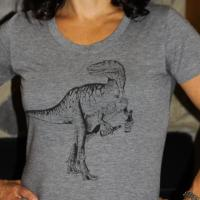 Beer Drinking Dinosaur Womens Triblend Tee